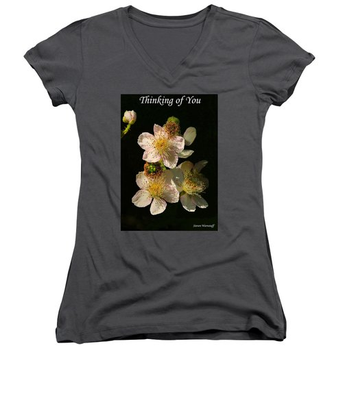 Thinking Of You Women's V-Neck T-Shirt (Junior Cut) by Steve Warnstaff