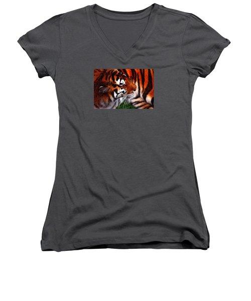 Tiger Women's V-Neck T-Shirt (Junior Cut) by Andre Faubert