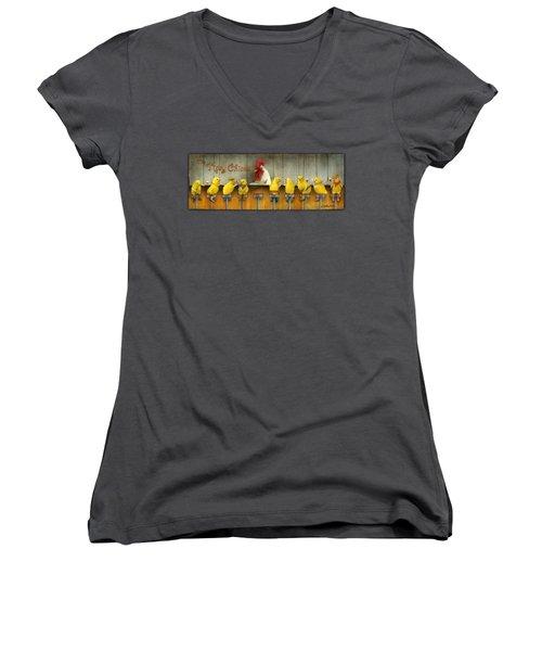Tipsy Chicks... Women's V-Neck T-Shirt (Junior Cut) by Will Bullas