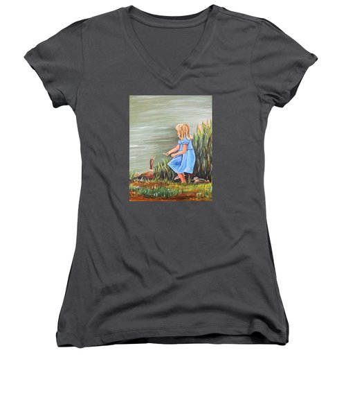 Tori And Her Ducks Women's V-Neck (Athletic Fit)