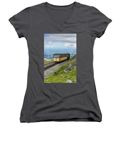 Train To Snowdon Women's V-Neck T-Shirt (Junior Cut) by Ian Mitchell