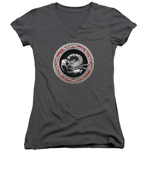 Treasure Trove - Sacred Silver Scorpion On Red Women's V-Neck T-Shirt (Junior Cut) by Serge Averbukh