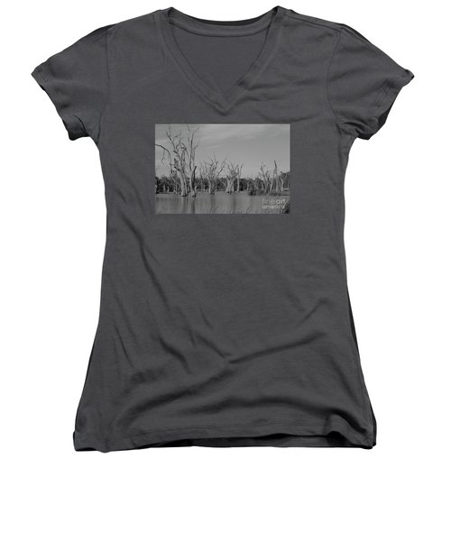 Women's V-Neck T-Shirt (Junior Cut) featuring the photograph Tree Cemetery by Douglas Barnard
