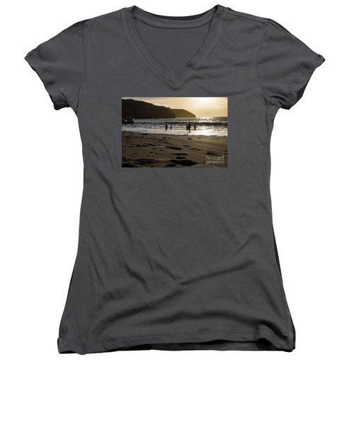 Women's V-Neck T-Shirt (Junior Cut) featuring the photograph Photographs Of Cornwall Trevellas Cove Cornwall by Brian Roscorla