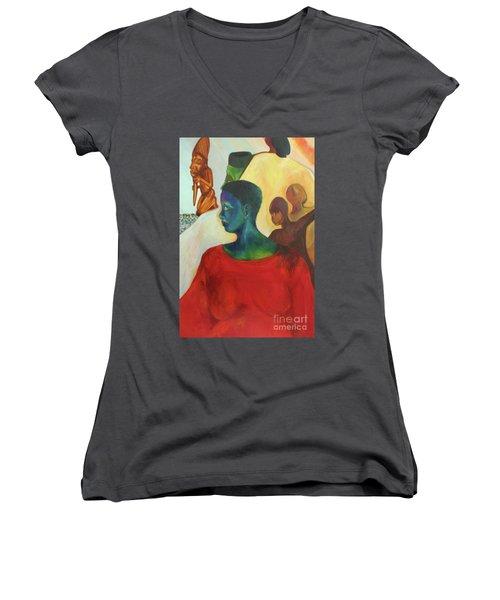 Trickster Women's V-Neck T-Shirt (Junior Cut) by Daun Soden-Greene