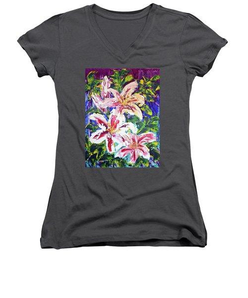 Tropical Flowers Women's V-Neck T-Shirt (Junior Cut) by Lynda Cookson