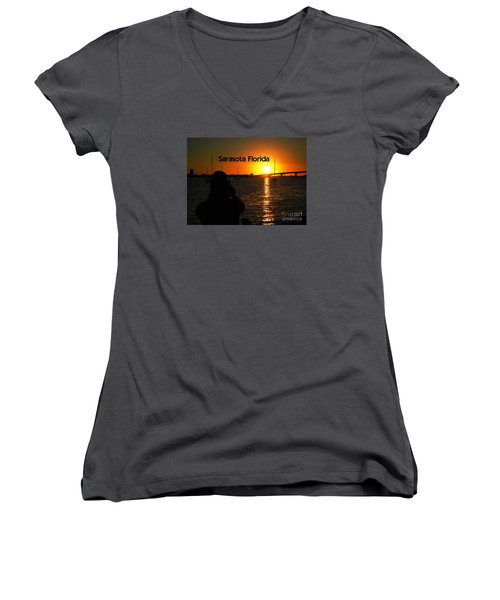 Tropical Sunset Women's V-Neck T-Shirt (Junior Cut) by Gary Wonning