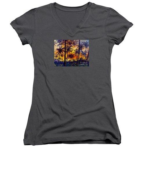 Tropical Sunset Women's V-Neck T-Shirt (Junior Cut) by Lou Ann Bagnall