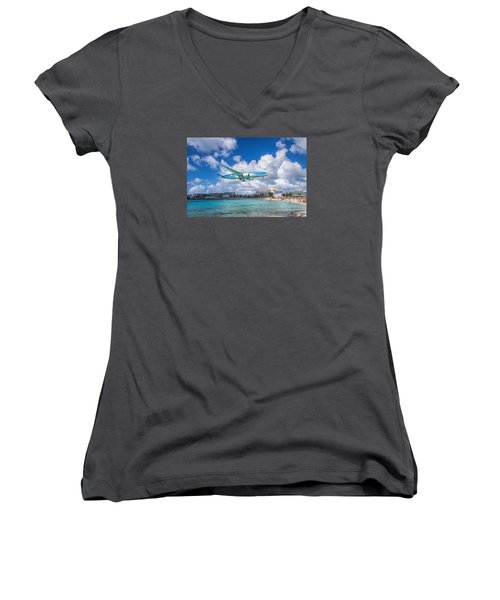 Tui Airlines Netherlands Landing At St. Maarten Airport. Women's V-Neck (Athletic Fit)