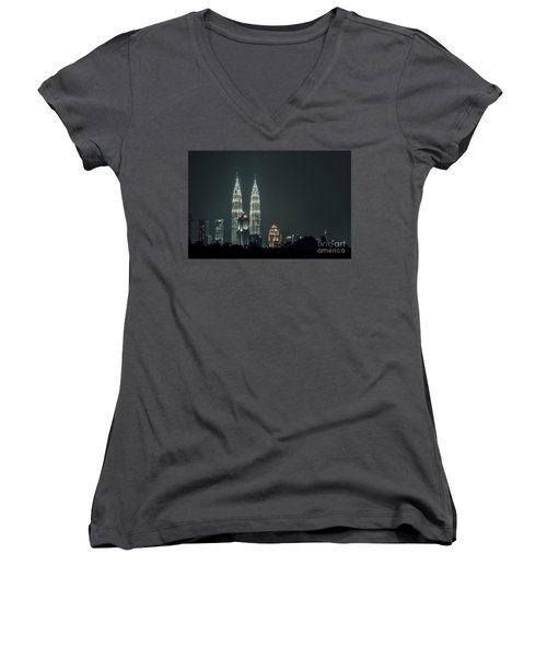 Women's V-Neck T-Shirt (Junior Cut) featuring the photograph Twin Towers by Charuhas Images