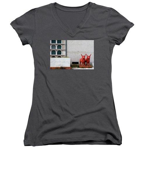 Two Orange Bulls Women's V-Neck T-Shirt (Junior Cut) by Lorraine Devon Wilke