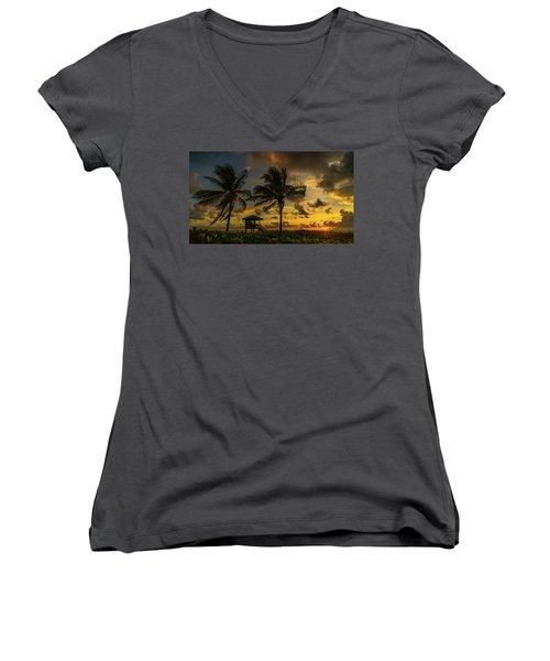 Two Palm Sunrise Delray Beach Florida Women's V-Neck T-Shirt