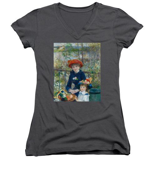 Two Sisters On The Terrace Women's V-Neck