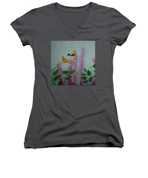 Two Yellow Chickadees Women's V-Neck