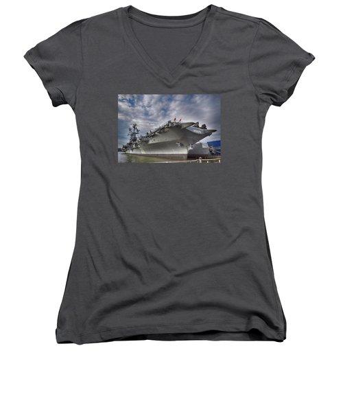 The U S S Intrepid  Women's V-Neck T-Shirt (Junior Cut)