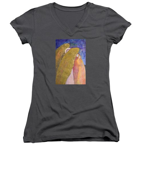 Under The Wing Of An Angel Women's V-Neck T-Shirt