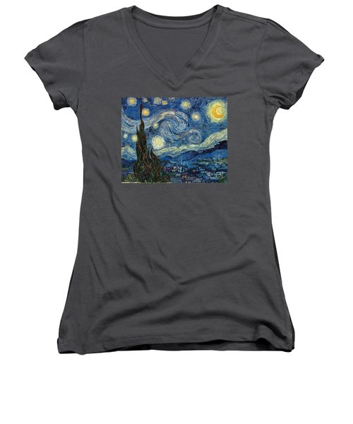 Van Gogh Starry Night Women's V-Neck (Athletic Fit)