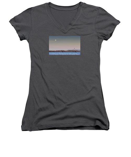 Ventura Pier Moonrise Women's V-Neck T-Shirt (Junior Cut) by Joe  Palermo