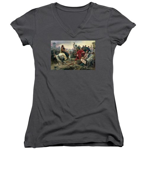 Vercingetorix Throws Down His Arms At The Feet Of Julius Caesar Women's V-Neck
