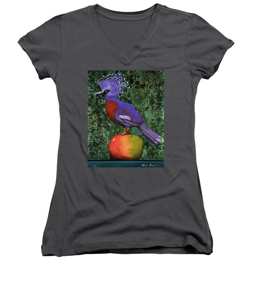 Victoria Crowned Pigeon On A Mango Women's V-Neck T-Shirt (Junior Cut) by Leah Saulnier The Painting Maniac