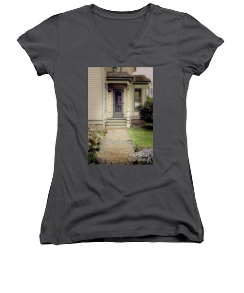 Women's V-Neck T-Shirt (Junior Cut) featuring the photograph Victorian Porch by Jill Battaglia