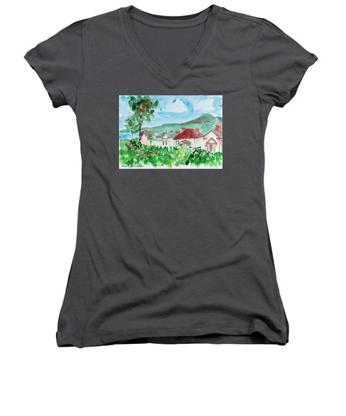 Women's V-Neck featuring the painting View From Battery Point by Dorothy Darden