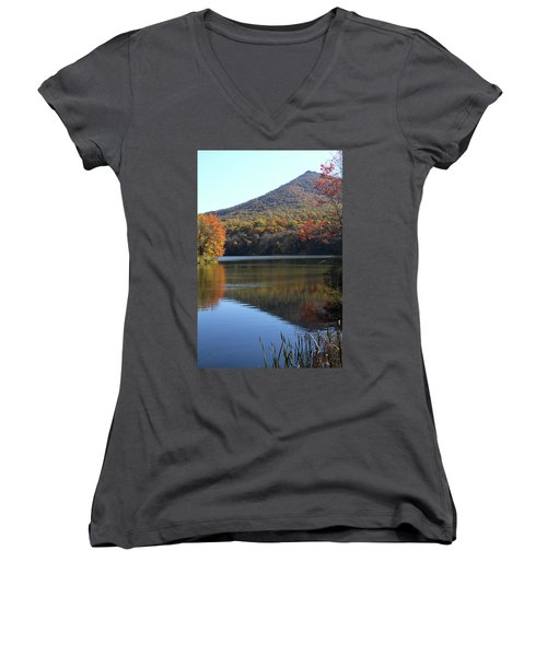 View Of Abbott Lake And Sharp Top In Autumn Women's V-Neck T-Shirt