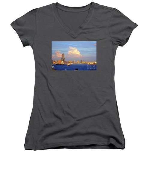 View Of Kaohsiung City At Sunset Time Women's V-Neck T-Shirt (Junior Cut) by Yali Shi