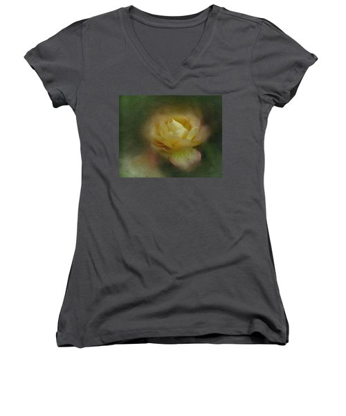 Vintage October Rose  Women's V-Neck T-Shirt (Junior Cut) by Richard Cummings