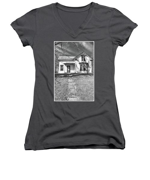 Visiting The Old Homestead Women's V-Neck T-Shirt (Junior Cut) by Guy Whiteley