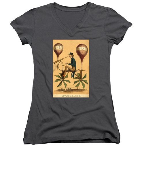 Voyage A La Lune Women's V-Neck T-Shirt
