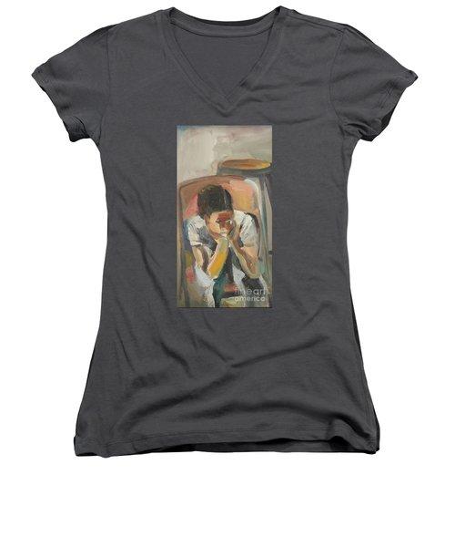 Wait Child Women's V-Neck T-Shirt (Junior Cut)