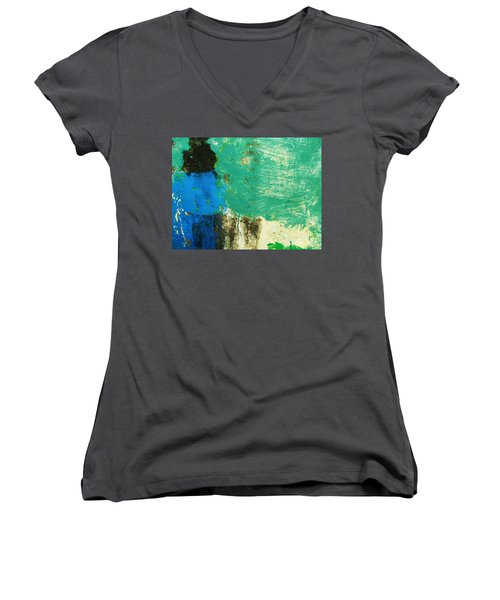 Women's V-Neck T-Shirt (Junior Cut) featuring the photograph Wall Abstract 70 by Maria Huntley