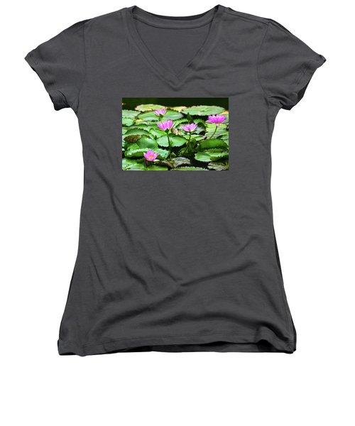 Women's V-Neck T-Shirt (Junior Cut) featuring the photograph Water Lilies by Anthony Jones