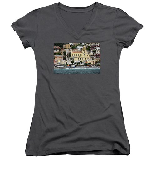 Water Taxi From Amalfi To Positano Women's V-Neck (Athletic Fit)
