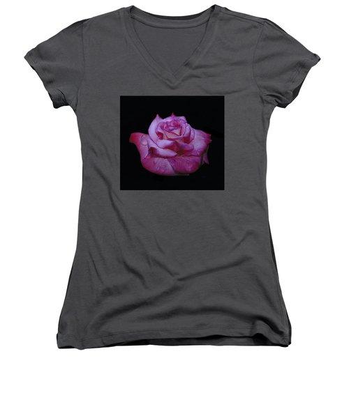 Watered Red Rose Women's V-Neck
