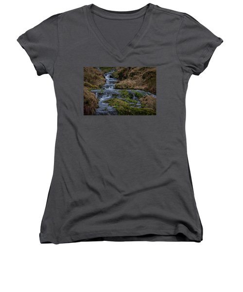 Women's V-Neck T-Shirt featuring the photograph Waterfall At Glendevon In Scotland by Jeremy Lavender Photography