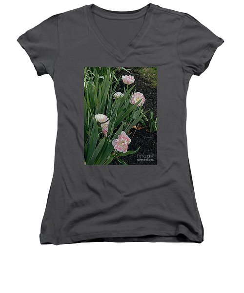 Women's V-Neck T-Shirt (Junior Cut) featuring the photograph We're Over Here by Nancy Kane Chapman