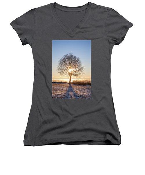 Women's V-Neck T-Shirt (Junior Cut) featuring the photograph Whaleback Sunrise by Robert Clifford