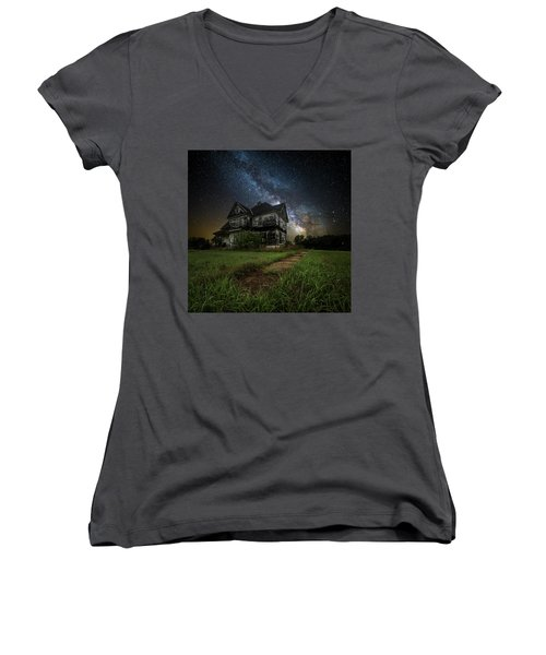 Women's V-Neck T-Shirt (Junior Cut) featuring the photograph What Once Was by Aaron J Groen