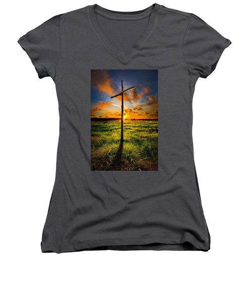 What Will Be Will Be Women's V-Neck T-Shirt (Junior Cut) by Phil Koch