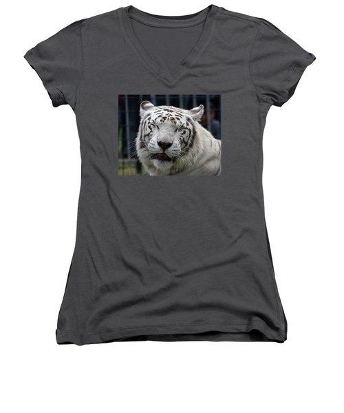 White Tiger Women's V-Neck T-Shirt