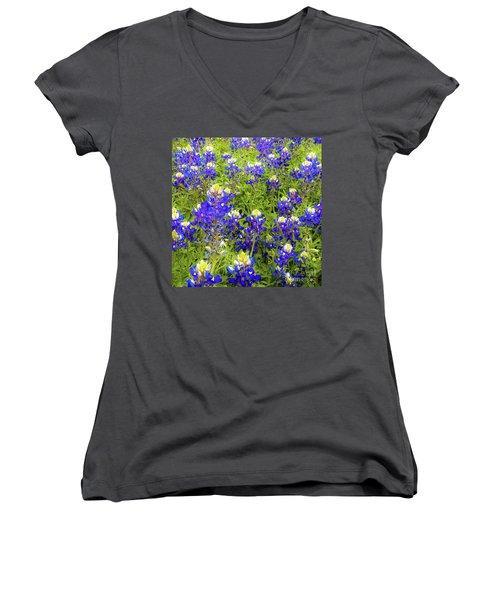 Wild Bluebonnets Blooming Women's V-Neck
