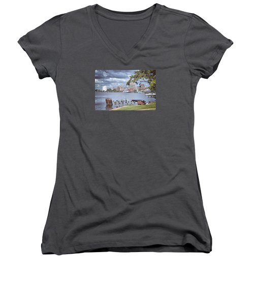 Women's V-Neck T-Shirt (Junior Cut) featuring the photograph Wilmington Riverfront by Phil Mancuso