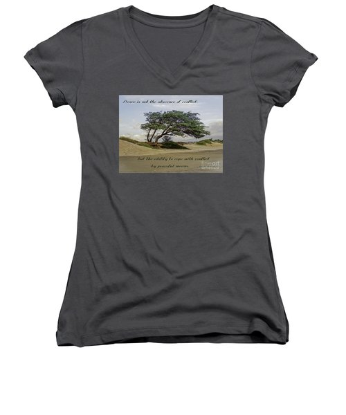 Women's V-Neck T-Shirt (Junior Cut) featuring the photograph Windy Lean by Gena Weiser