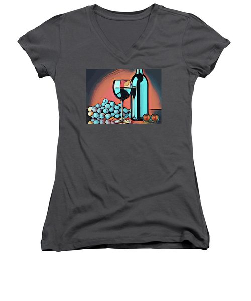 Wine Glass Bottle And Grapes Abstract Pop Art Women's V-Neck T-Shirt
