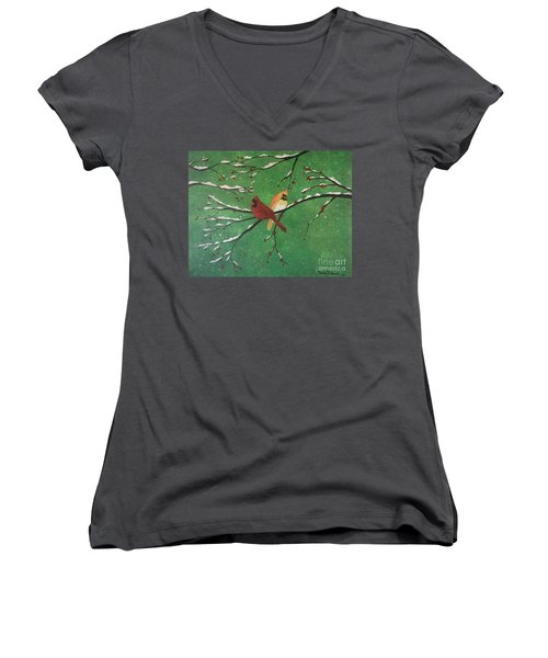 Women's V-Neck T-Shirt featuring the painting Winter Cardinals by Denise Tomasura