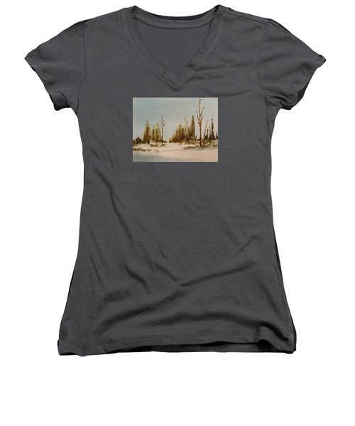 Winter Morning Women's V-Neck T-Shirt (Junior Cut) by Larry Hamilton