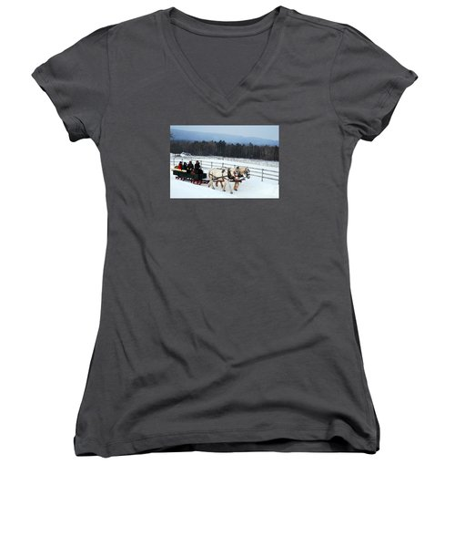 Winter Wonderland Women's V-Neck T-Shirt (Junior Cut) by James Kirkikis