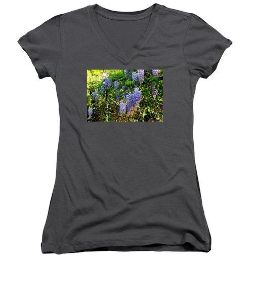 Wisteria Women's V-Neck T-Shirt (Junior Cut) by Betty-Anne McDonald